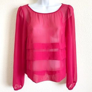 BCBG | sheer tiered blouse